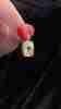 Fiyonk - 14 Ayar Altın Göz Detaylı Işıltılı Kısa Dikdörtgen Kolye Ucu
