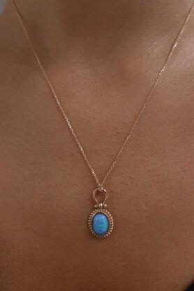Fiyonk - 14 Ayar Altın Açık Mavi Opal Taşlı Kolye
