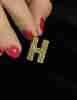 Fiyonk - 14 Ayar Altın 3 Boyutlu Shine H Harf Kolye Ucu