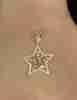 14 Ayar Altın Baget Taş Detaylı Parlak Yıldız Kolye Ucu - Thumbnail