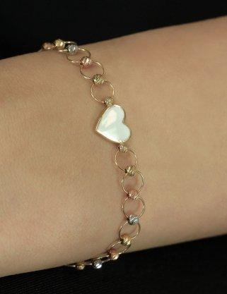 Fiyonk - 14 Ayar Altın Beyaz Kalp Detaylı Dorika Dizisi Halka Bileklik