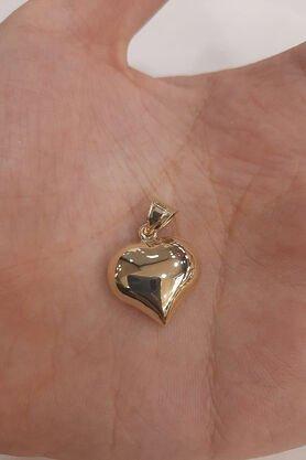 Fiyonk - 14 Ayar Altın Tombul Kalp Kolye Ucu