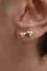 14 Ayar Altın Kabarık Kalpli Küpe - Thumbnail