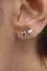 14 Ayar Altın Kalpli Mini Küpe - Thumbnail