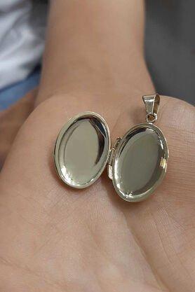 14 Ayar Altın Oval Kapaklı Kolye Ucu - Thumbnail