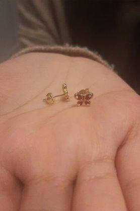 14 Ayar Altın Kırmızı Kelebek Küpe - Thumbnail