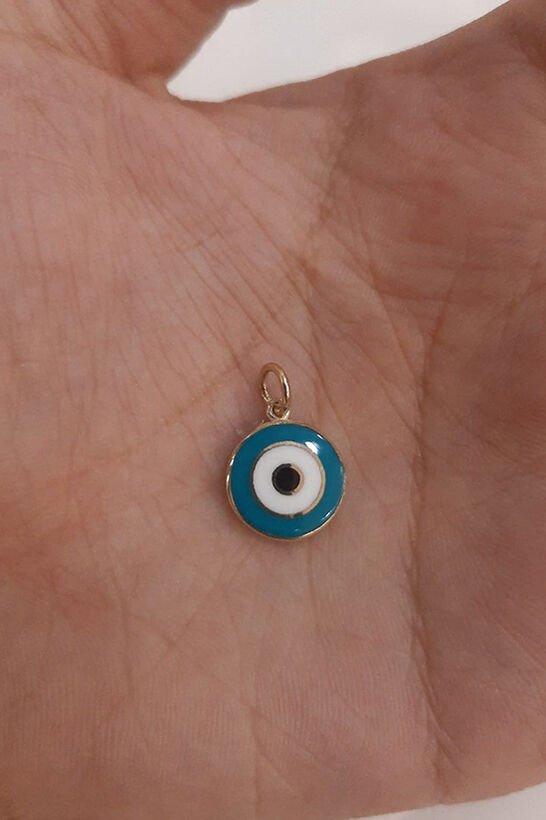 14 Ayar Altın Mavi Göz Kolye Ucu