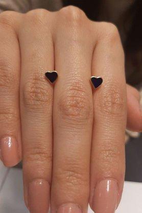 Fiyonk - 14 Ayar Altın Mavi Kalp Pimli Küpe