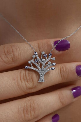 14 Ayar Altın Nazarlıklı Hayat Ağacı Kolye - Thumbnail
